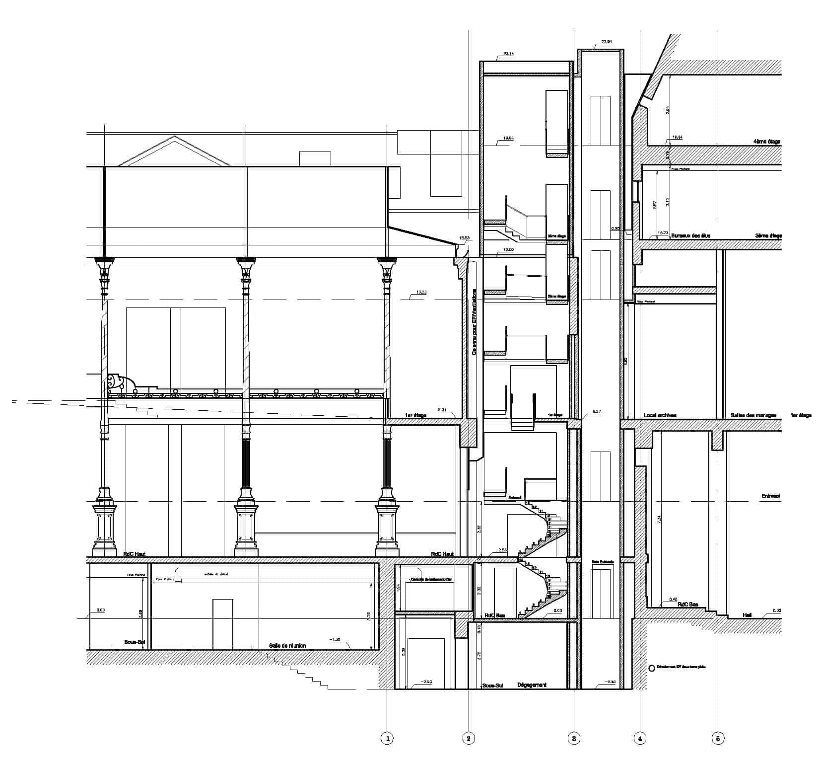 B+M Architecture - Coupe sur Atrium