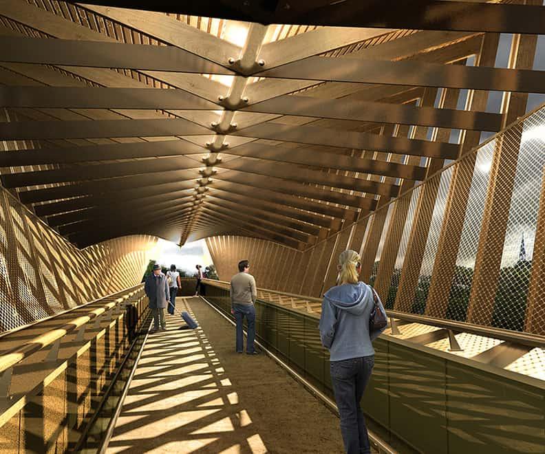 B+M Architecture - Une passerelle couverte en bois
