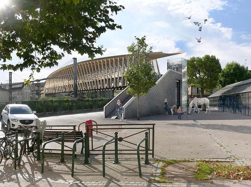 B+M Architecture - Maisons-Laffite-la passerelle dans la continuité de l'architecture de la halle du marché