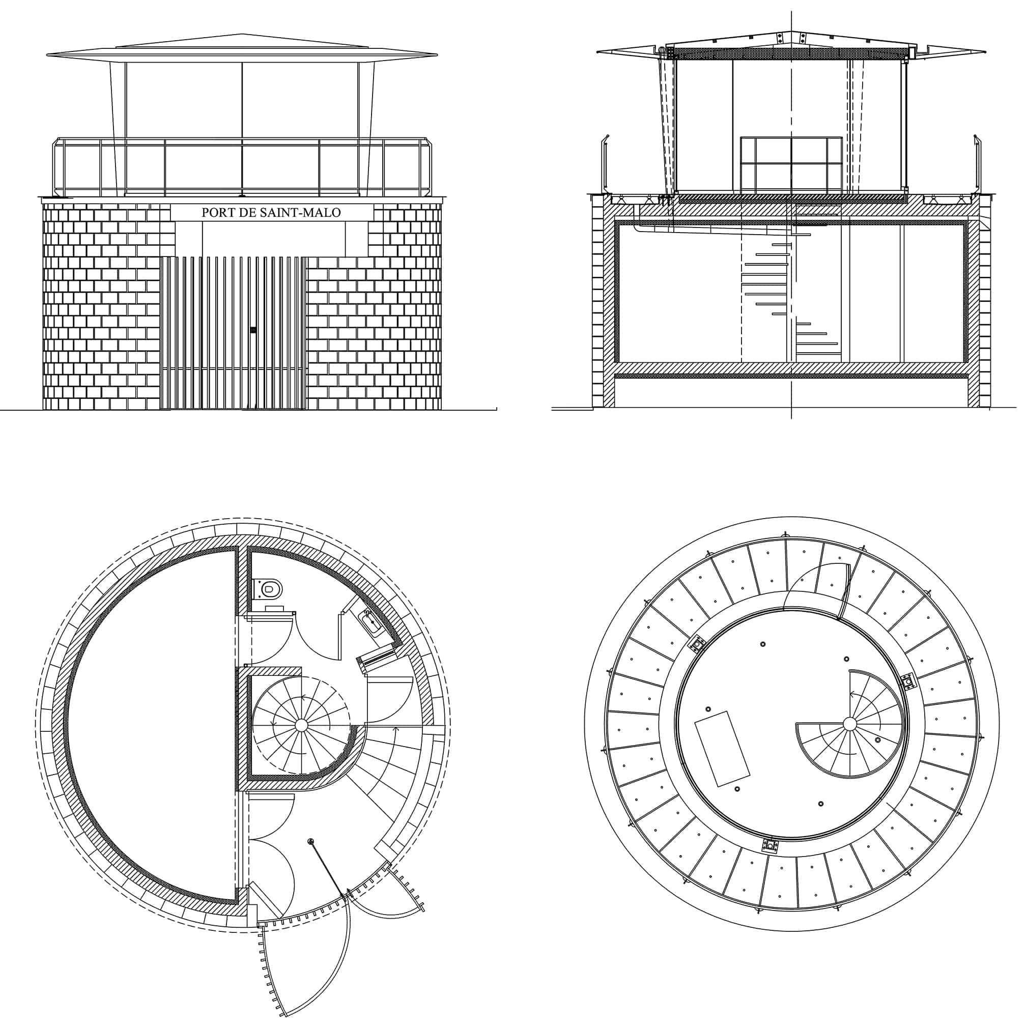B+M Architecture - plans du poste de commande